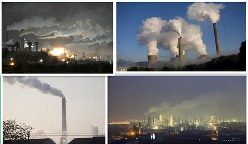 图为工业废气处理行业实施以前浓烟滚滚的现场真实写照