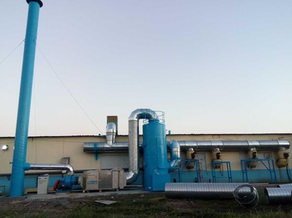 恒蓝环保喷漆废气净化设备施工现场图